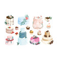 collection cakes tarts cupcakes decorated by vector image vector image