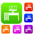 computer desk workplace set collection vector image vector image
