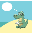 crocodile with a book vector image