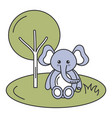 cute and tender elephant in the jungle character vector image