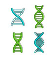 dna icon set color outline style vector image
