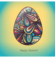 Easter egg greeting card hand drawn ornament vector image