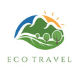 eco travel wit mountains and trees vector image