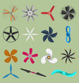 fans propellers icons isolated object vector image vector image