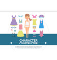 flat female character creation round concept vector image