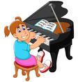 funny girl cartoon playing piano vector image