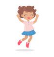 girl with short wavy hair jumping closing eyes vector image