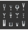 Glasses and goblets transparent icons vector image vector image