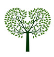 green tree with leaves outline vector image