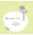 greeting card winh cute bird vector image vector image