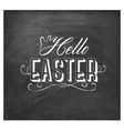 hello easter typographical text on chalkboard vector image vector image
