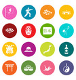 japan icons many colors set vector image vector image