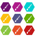 knife icon set color hexahedron vector image vector image