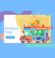 landing page template of colorful flat pizza truck vector image vector image
