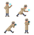 mask spy detective cartoon magnifying glass camera vector image vector image