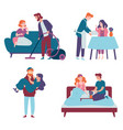 men take care women and do housework romantic vector image vector image
