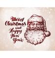 Merry Christmas greeting card Hand drawn Santa vector image vector image