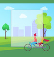 mother daughter riding bicycle in city park vector image vector image