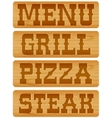 Nameplate of wood with words Menu Grill Steak vector image vector image