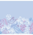 Pastel birds and flowers horizontal seamless