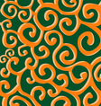 Pattern with orange stylish spiral curls on green vector image