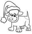 puppy on christmas coloring page vector image vector image