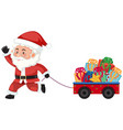 santa pulling a carriage with presents vector image vector image