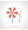 Saving energy flat color icon Wind turbine vector image vector image
