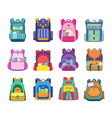 school bag backpack and student rucksack icons vector image