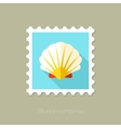 Seashell flat stamp with long shadow vector image vector image