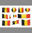 set belgiumn flags banners banners symbols vector image