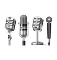 set isolated microphone on stand and mic vector image