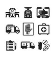 set of monochrome medical icons in flat style vector image vector image