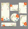 Set of vintage floral wedding invitation cards vector image vector image