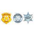 sheriff badges set railroad police california vector image vector image