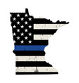 state minnesota police support flag vector image vector image