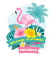 summer tropical welcome label vector image