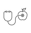 Thin line stethoscope and apple