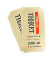 two vintage paper tickets isolated on white vector image