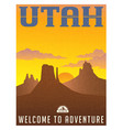 utah monument valley travel poster vector image vector image