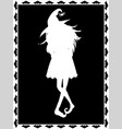 white silhouette of witch on black background vector image