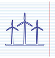 wind turbines sign navy line icon on vector image vector image