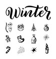 winter outline set season elements on white vector image