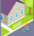 woman riding bicycle person using bike in city vector image