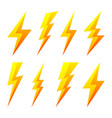 yellow lightning bolt icons isolated on white vector image