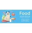 Pet cat food Cat with cat foods concept on vector image