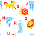 alphabet animals and letters study material vector image vector image