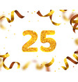 anniversary banner 25th gold ribbon fly vector image
