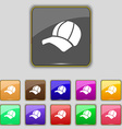 Ball cap icon sign Set with eleven colored buttons vector image vector image