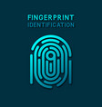blue fingerprint identification symbol vector image